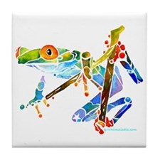 Tree Frog Blue Green Tile Coaster