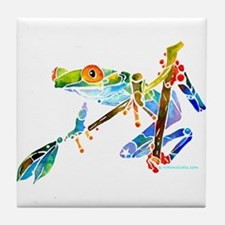 Crazy Tree Frogs Blue Tile Coaster
