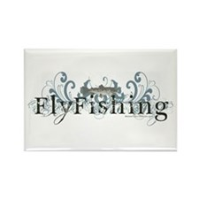 Vintage Fly Fishing Rectangle Magnet