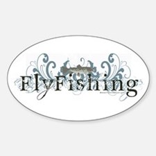 Vintage Fly Fishing Oval Decal