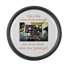 Life is like a box of chocola Large Wall Clock