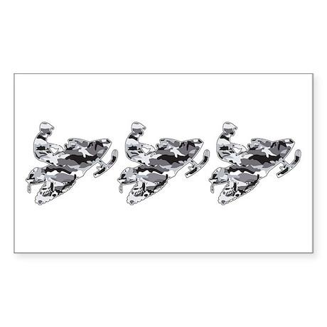 3 Grey Camo Sledders Rectangle Sticker