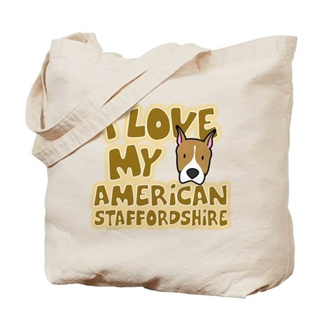 I Love my AmStaff Tote Bag (Cartoon)