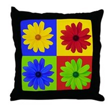 Retro Daisy Flower Throw Pillow