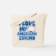 I Love my American Eskimo Tote Bag (Cartoon)