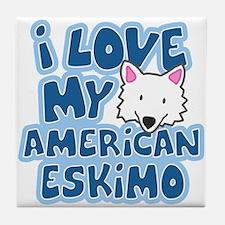 I Love my American Eskimo Tile Coaster