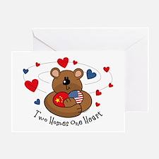 2 Homes 1 Heart China Greeting Card