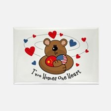 2 Homes 1 Heart China Rectangle Magnet