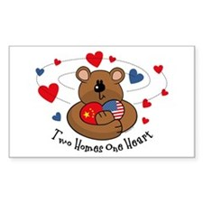 2 Homes 1 Heart China Rectangle Decal