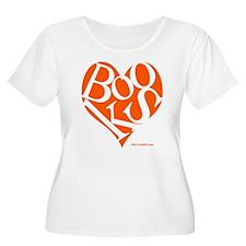 Women's Plus Size T-Shirt with ORANGE Books Heart