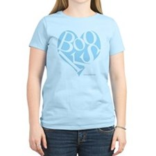 Women's Blue T-Shirt with BLUE I Love Books Heart