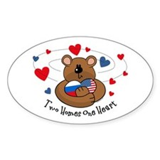 2 Homes1 Heart Russia Oval Decal