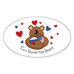 2 Homes1 Heart Russia Oval Sticker