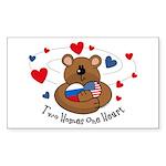 2 Homes1 Heart Russia Rectangle Sticker