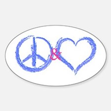 Peace & Love Oval Decal