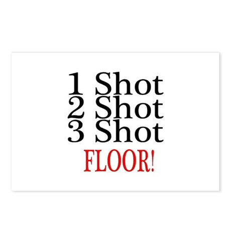 1 Shot 2 Shot 3 Shot Floor Postcards (Package of 8