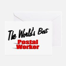 """""""The World's Best Postal Worker"""" Greeting Card"""