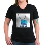 Betty the Beetle Women's V-Neck Dark T-Shirt