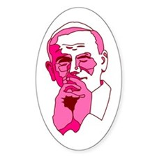 Pope John Paul II Pink Design Oval Decal