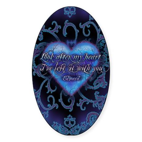 Edward's Heart-Twilight Oval Sticker