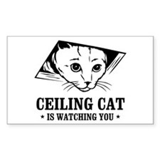 ceiling cat is watching you Rectangle Decal