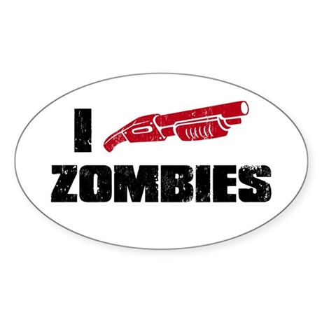 i shotgun zombies Oval Sticker