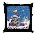 Christmas Maine Coon Cat Throw Pillow
