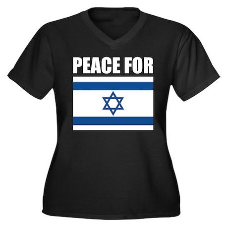 Peace for Israel Women's Plus Size V-Neck Dark T-S