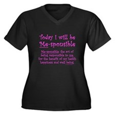 Me-sponsible Women's Plus Size V-Neck Dark T-Shirt