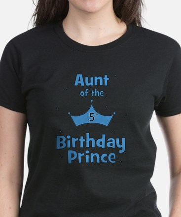 Aunt of the 5th Birthday Prin Women's Dark T-Shirt