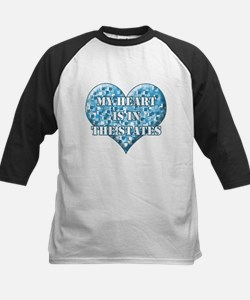 My heart is in the states Kids Baseball Jersey