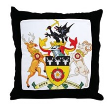 Derbyshire Coat of Arms Throw Pillow
