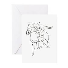 Jockey Horse Riding Cat Greeting Cards (Pk of 20)