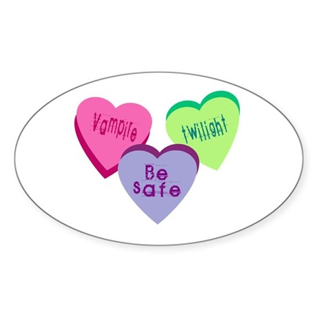 Candy hearts 3 Oval Sticker