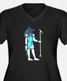 God Anubis Women's Plus Size V-Neck Dark T-Shirt