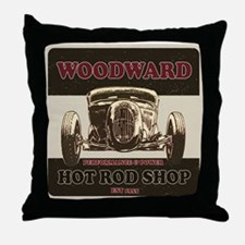 Hot Rod Shop Throw Pillow