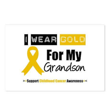 I Wear Gold Grandson Postcards (Package of 8)