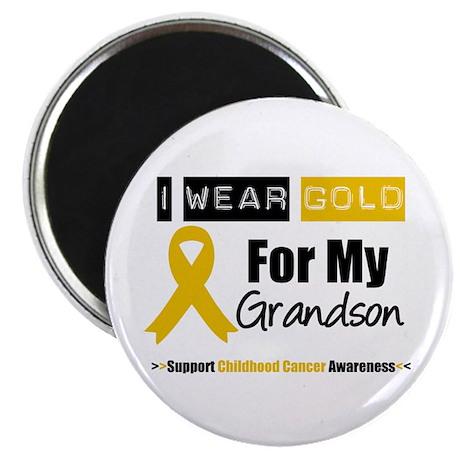 """I Wear Gold Grandson 2.25"""" Magnet (10 pack)"""