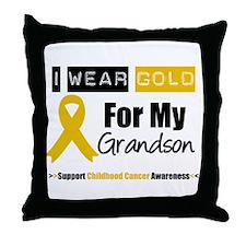 I Wear Gold Grandson Throw Pillow