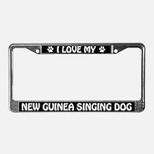 I Love My New Guinea Singing Dog License Frame