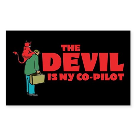 Devil Is My Co-Pilot Rectangle Sticker