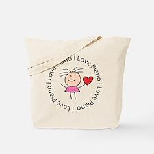 Cute I Love Piano Tote Bag