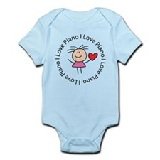Cute I Love Piano Infant Bodysuit