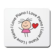 Cute I Love Piano Mousepad