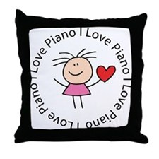 Cute I Love Piano Throw Pillow