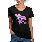 EMS Care Heart Women's V-Neck Dark T-Shirt