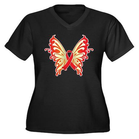 AIDS Ribbon Butterfly Women's Plus Size V-Neck Dar