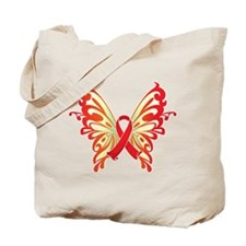 AIDS Ribbon Butterfly Tote Bag