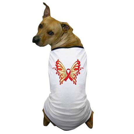 AIDS Ribbon Butterfly Dog T-Shirt