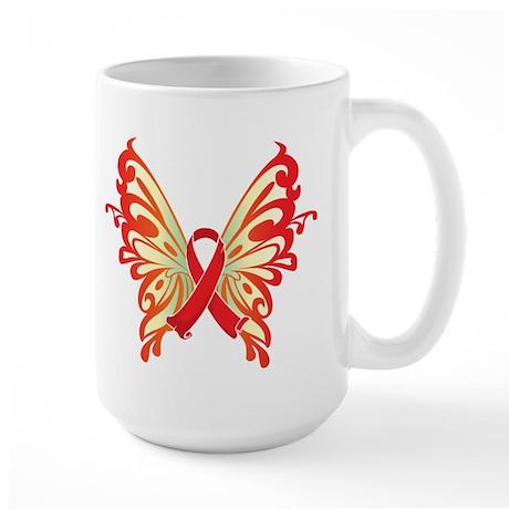 AIDS Ribbon Butterfly Large Mug